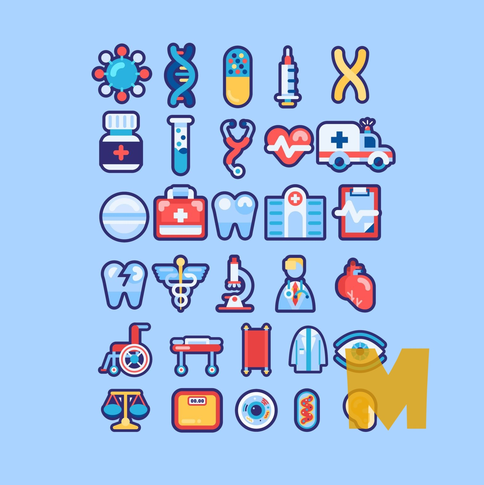 Flat Health Care Icons Sets