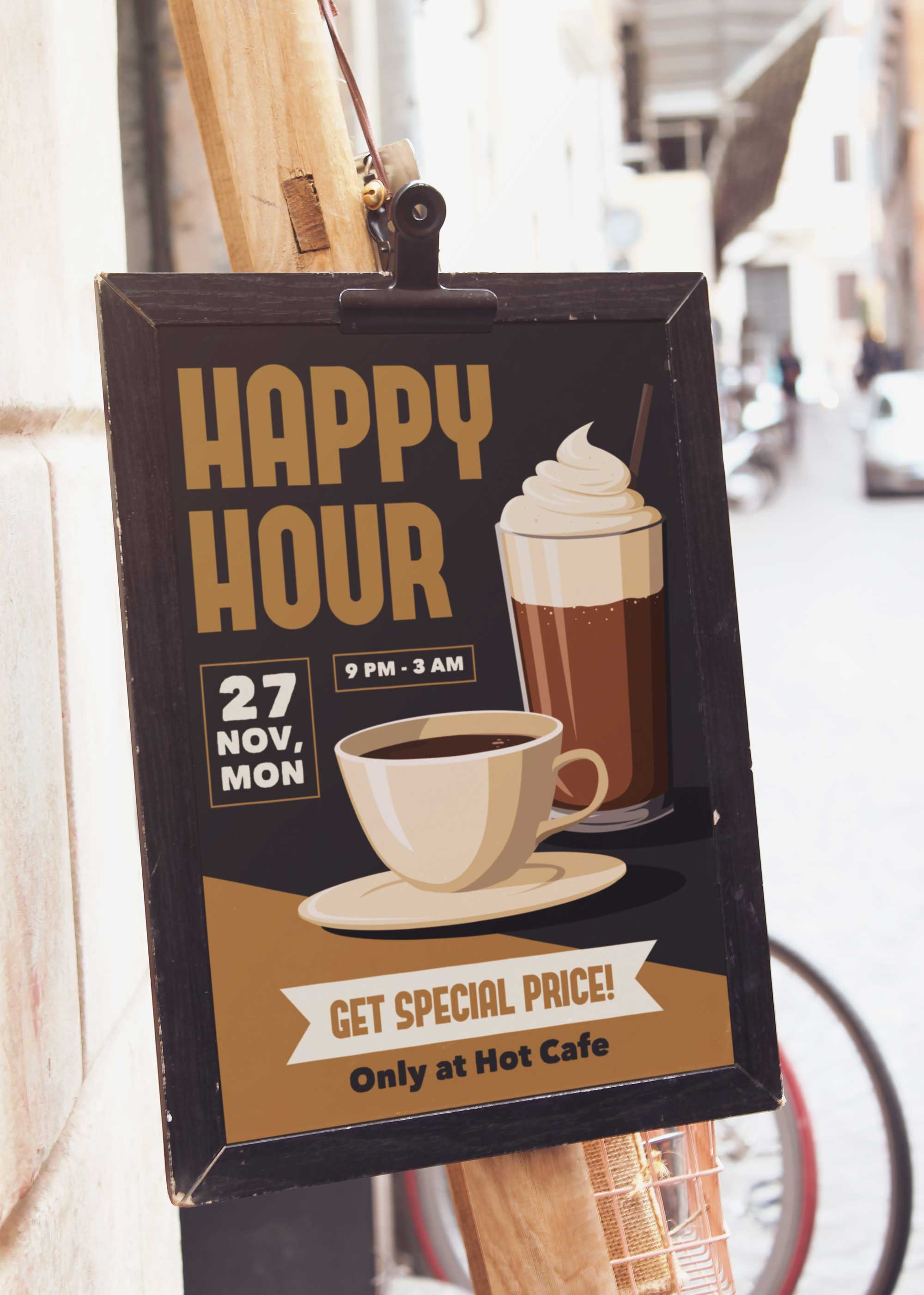 Happy Hour Cafe Poster Mockup