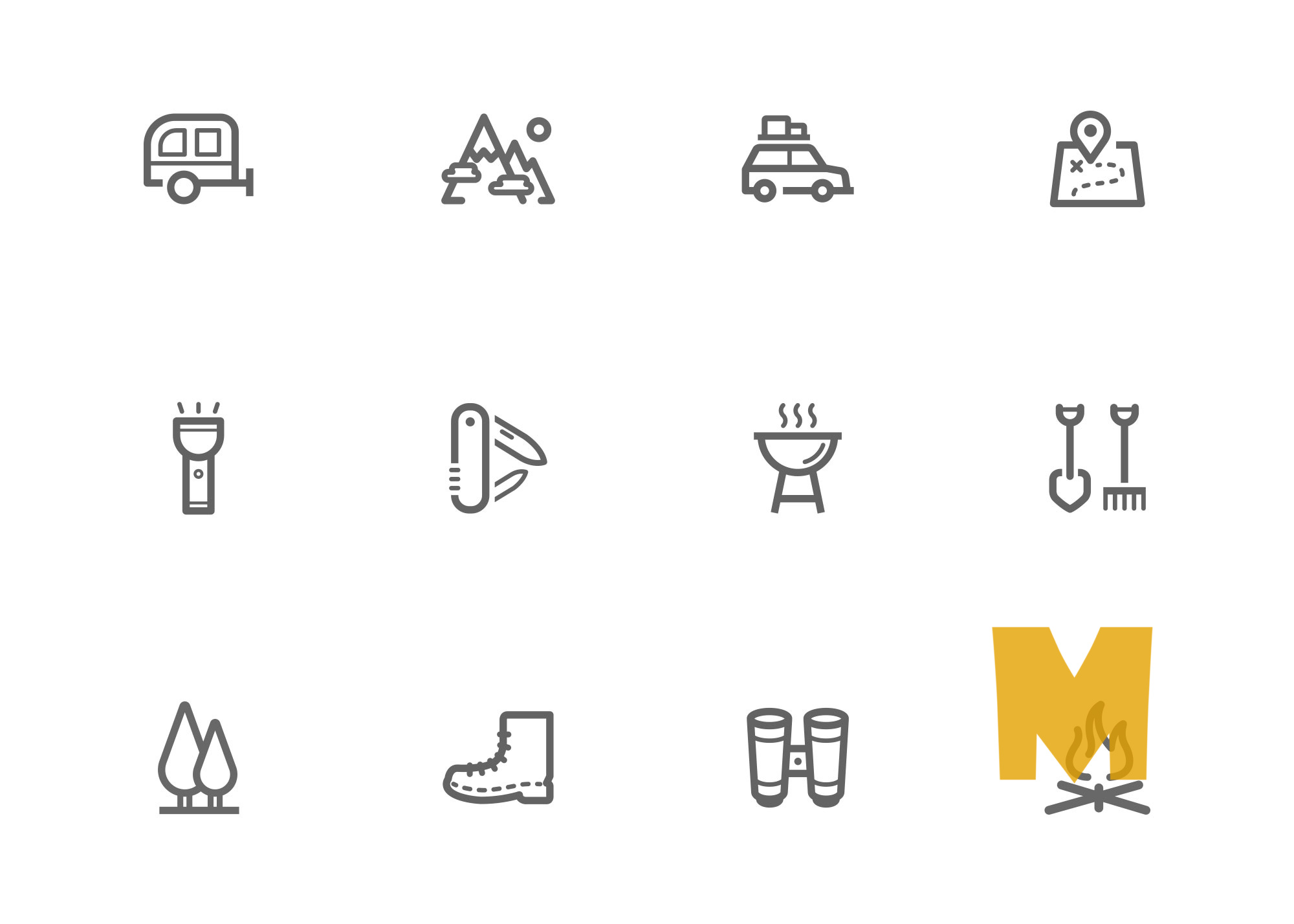 Hill Station Camping Icon Set
