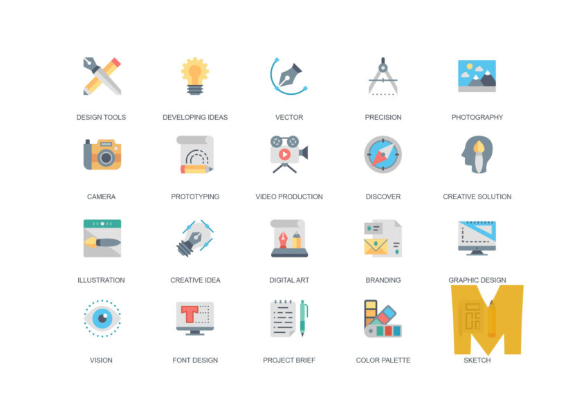 Line & Flat Business Icon Set