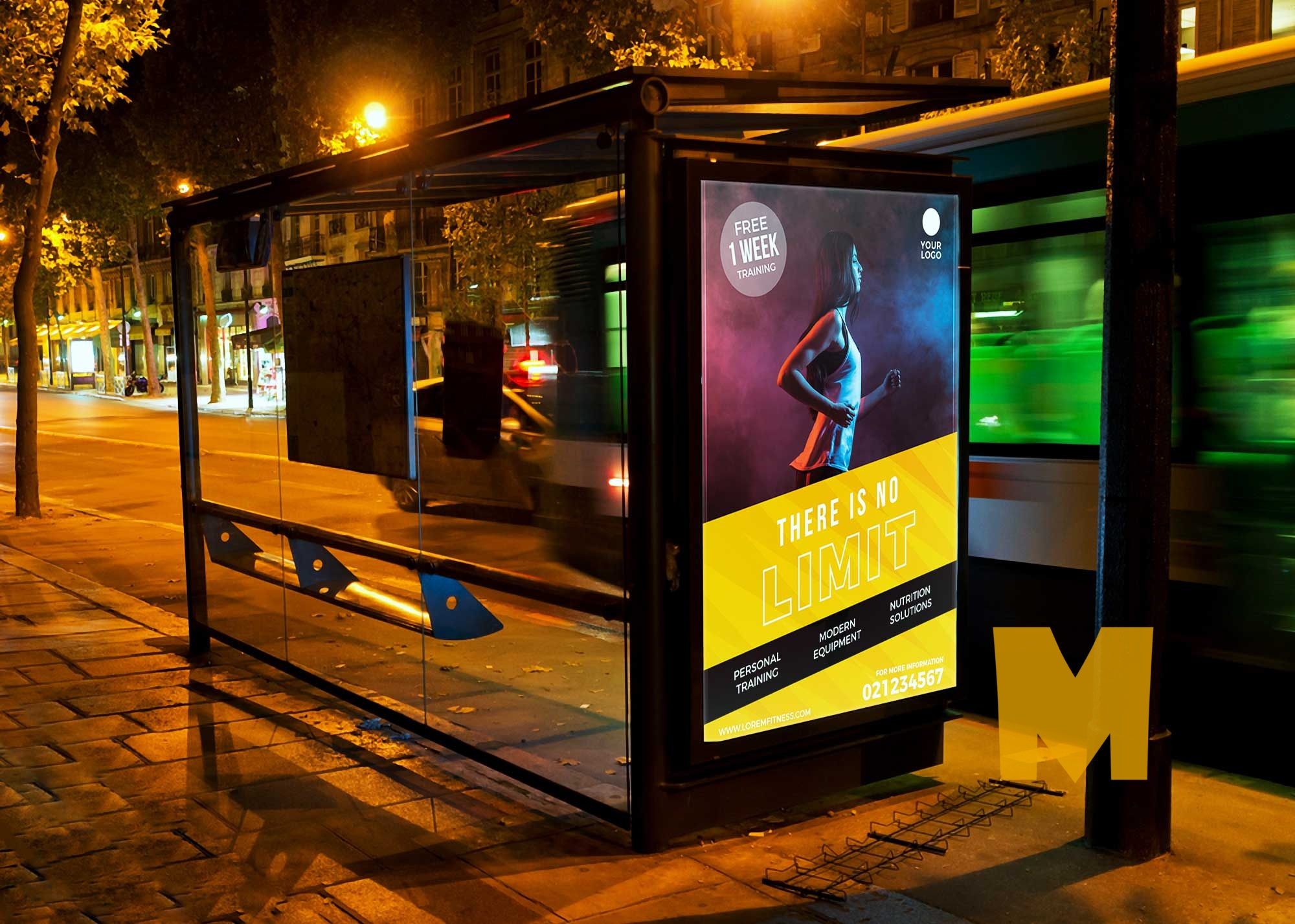 Night Bus Shelter Billboard Mockup