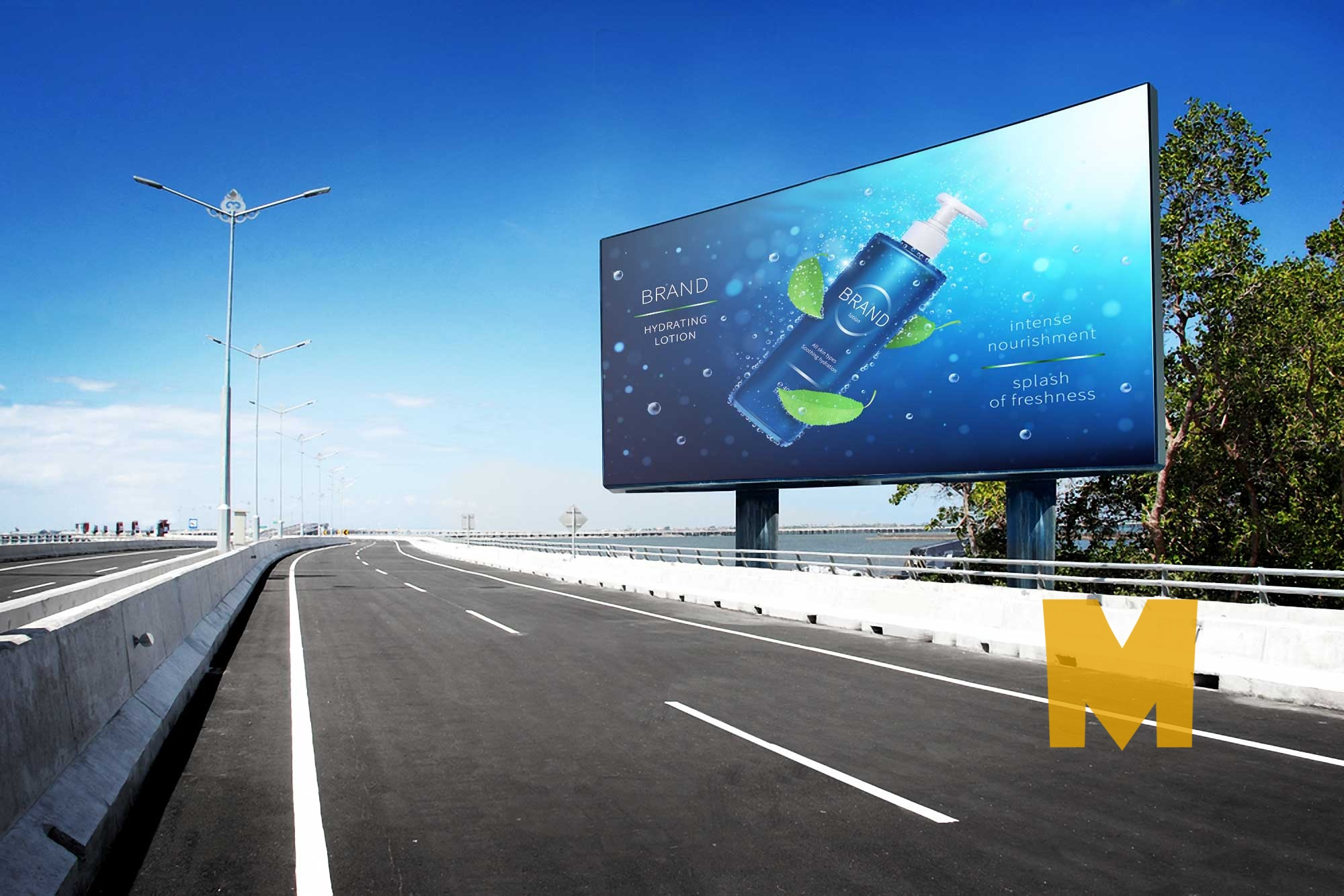 Roadside Advertising Billboard Mockup