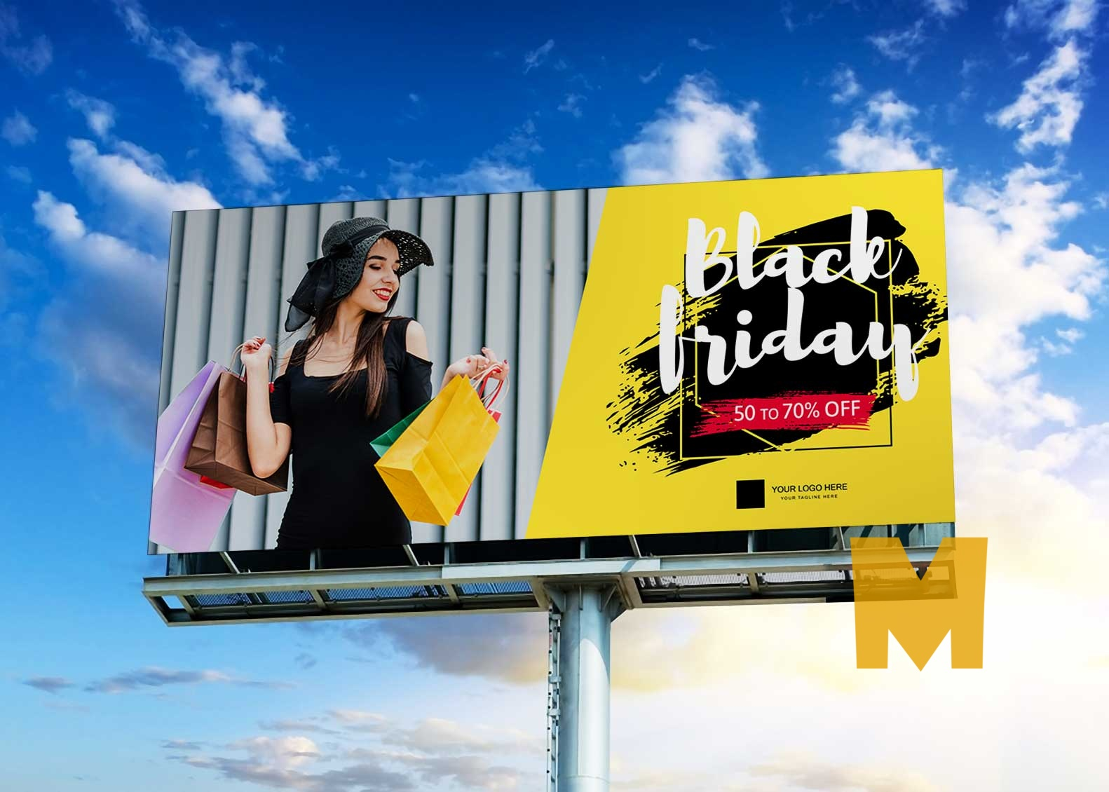 Free Sky Big Billboard Mockup