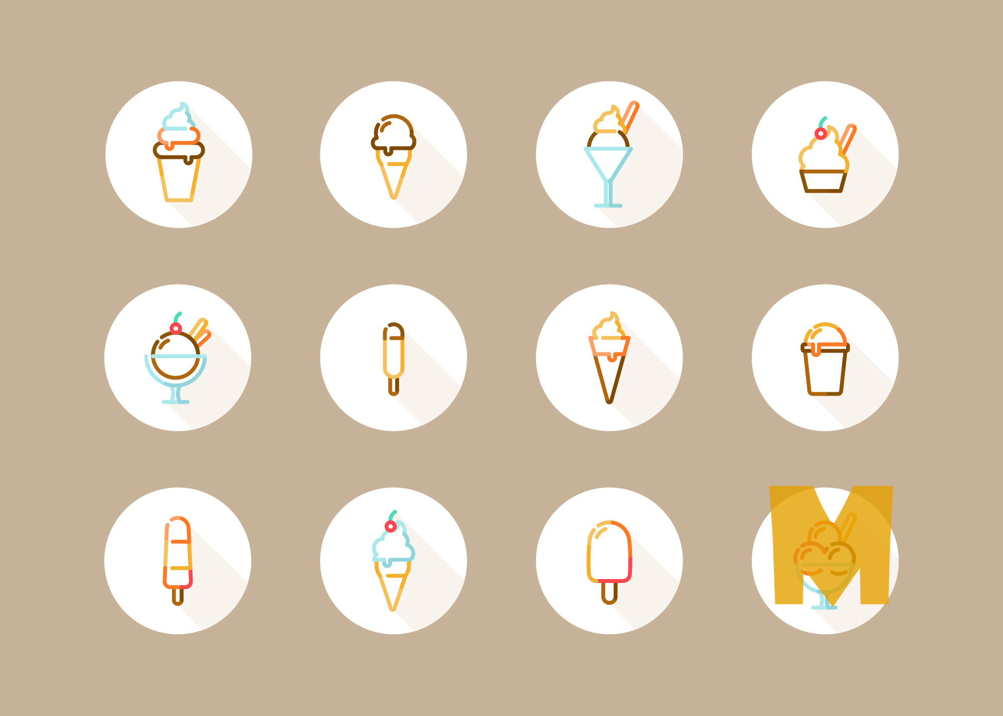Soft Ice cream Icon Set