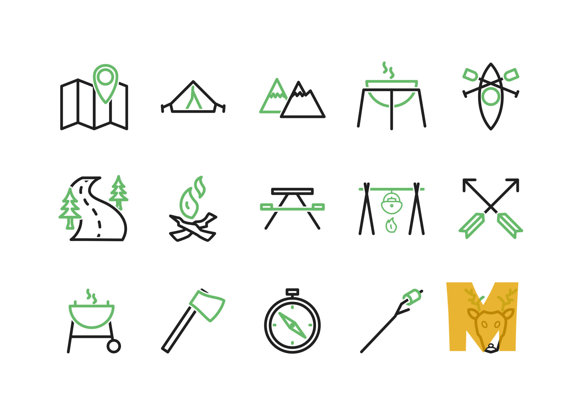 Summer Camping Icon Sets
