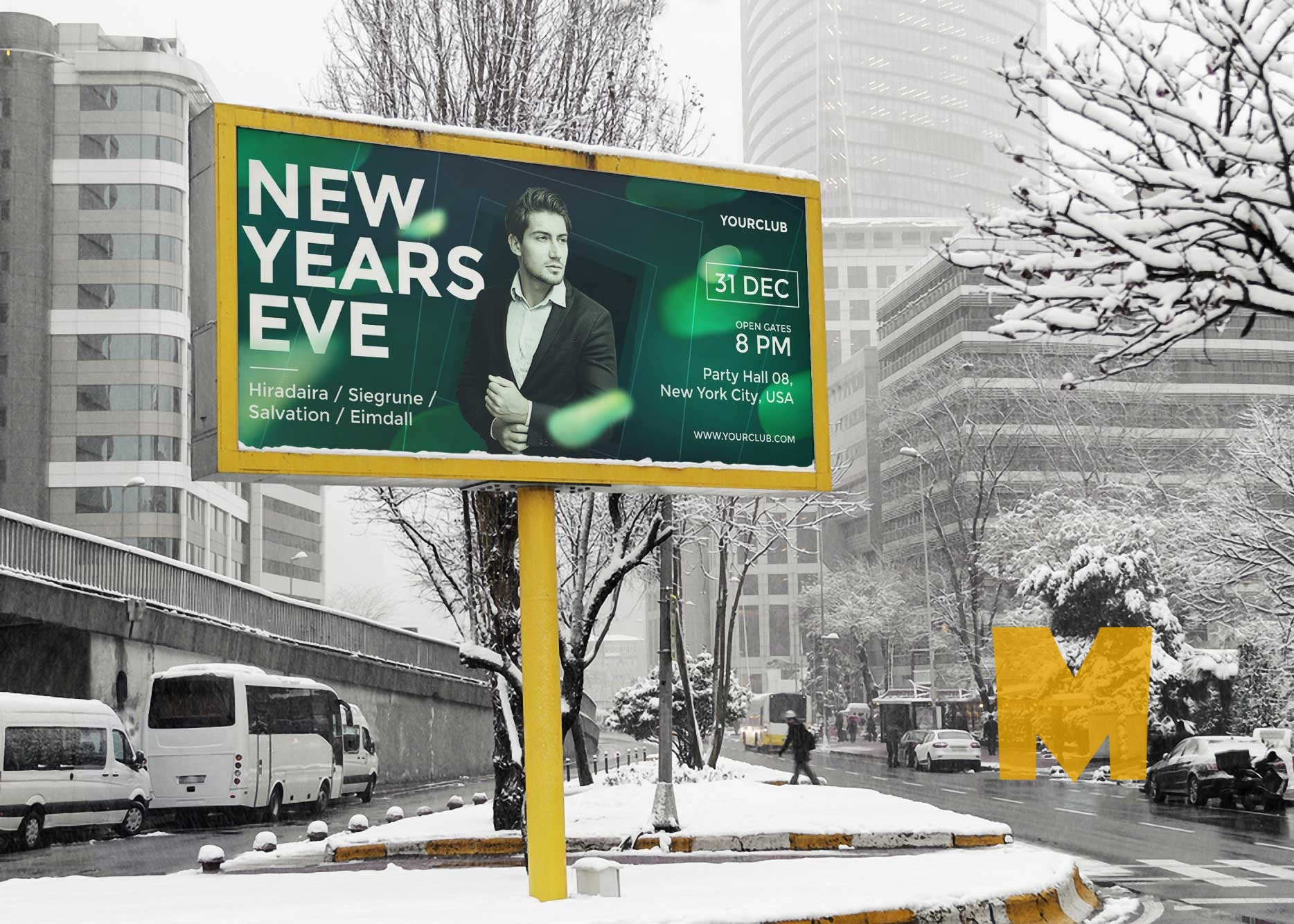 Winter Advertising Billboard Mockup