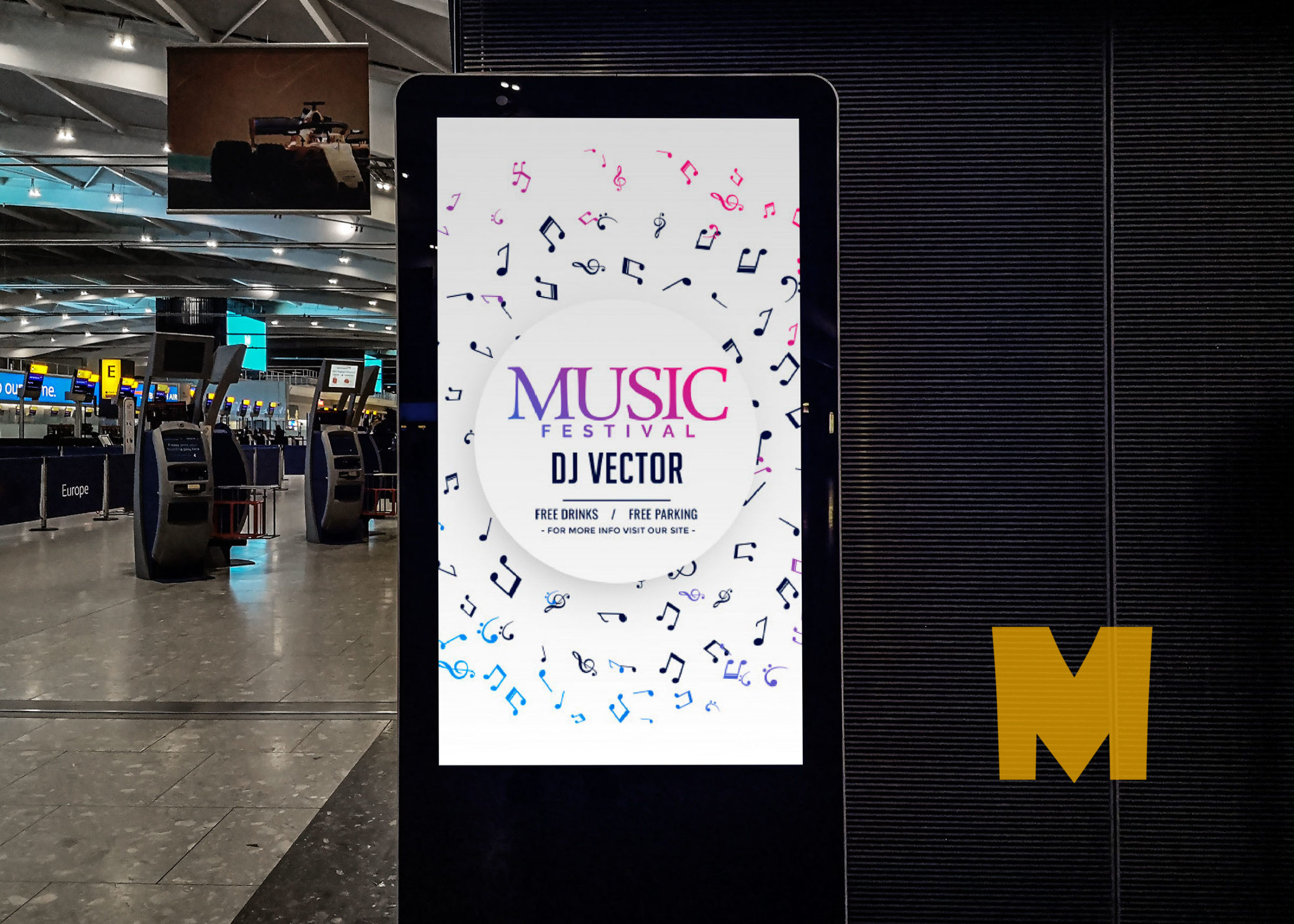 Airport Terminal Ad Screen Board Mockup