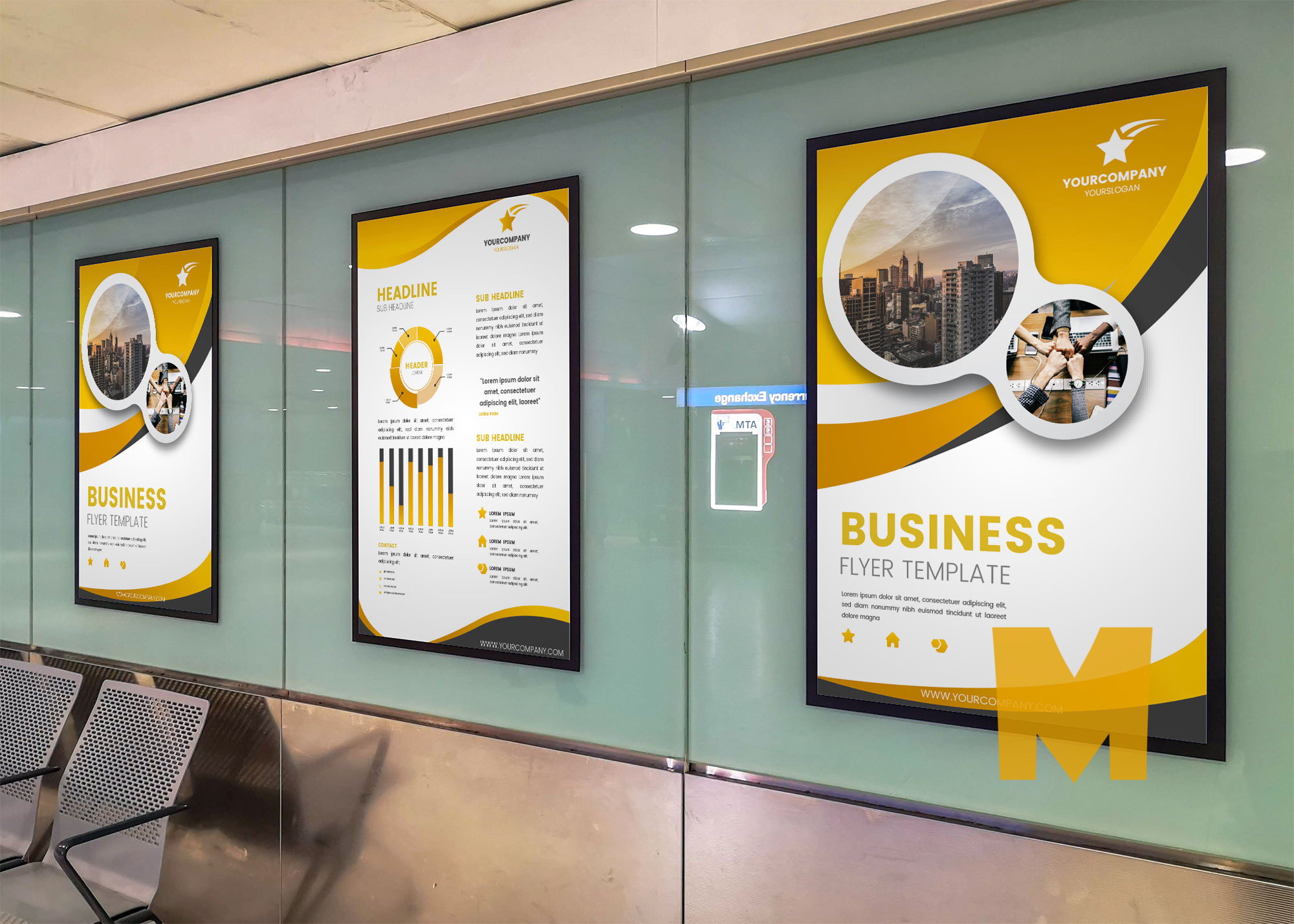 Airport Terminal Poster Screen Mockup