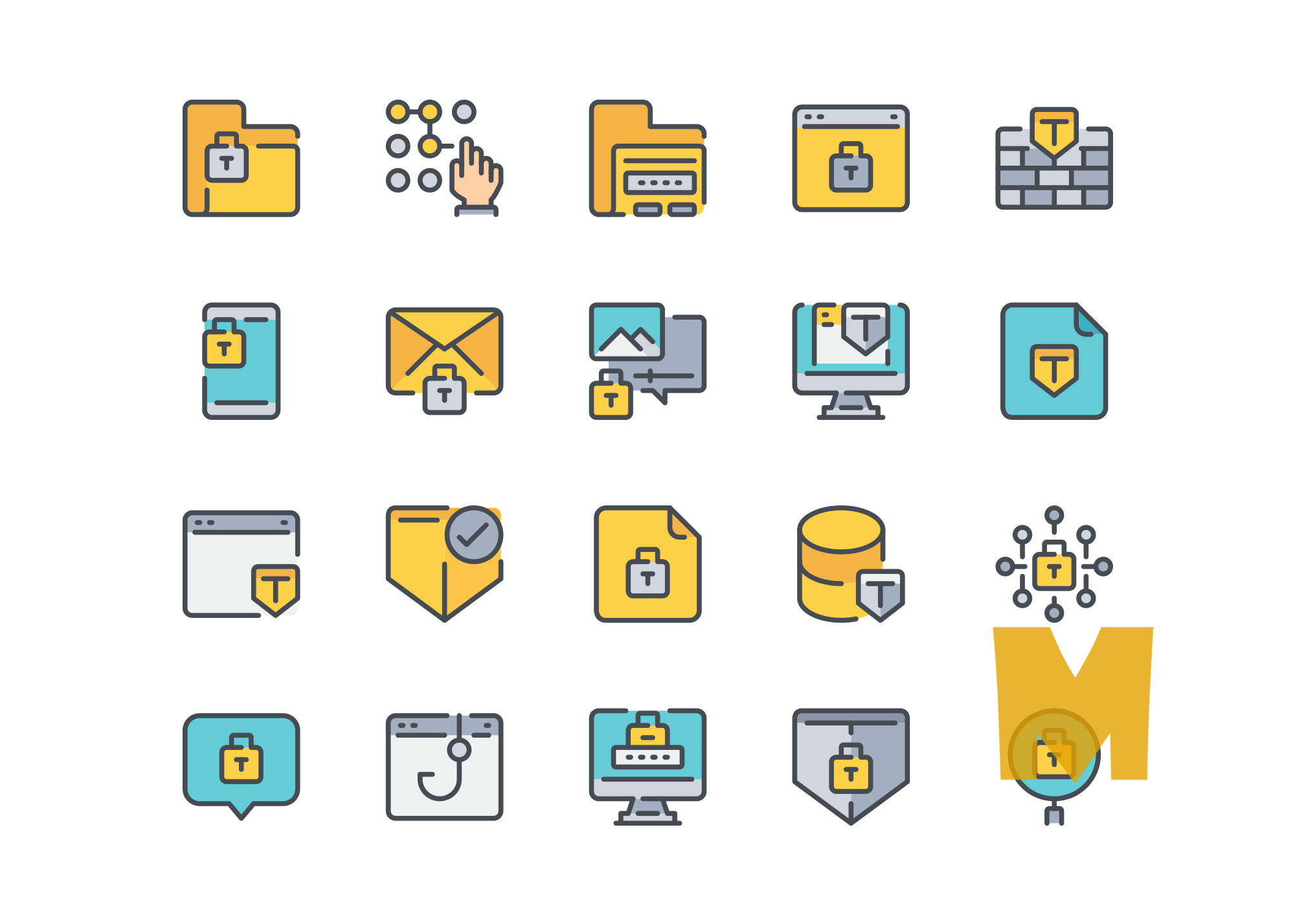 Cyber Security icon Design Set