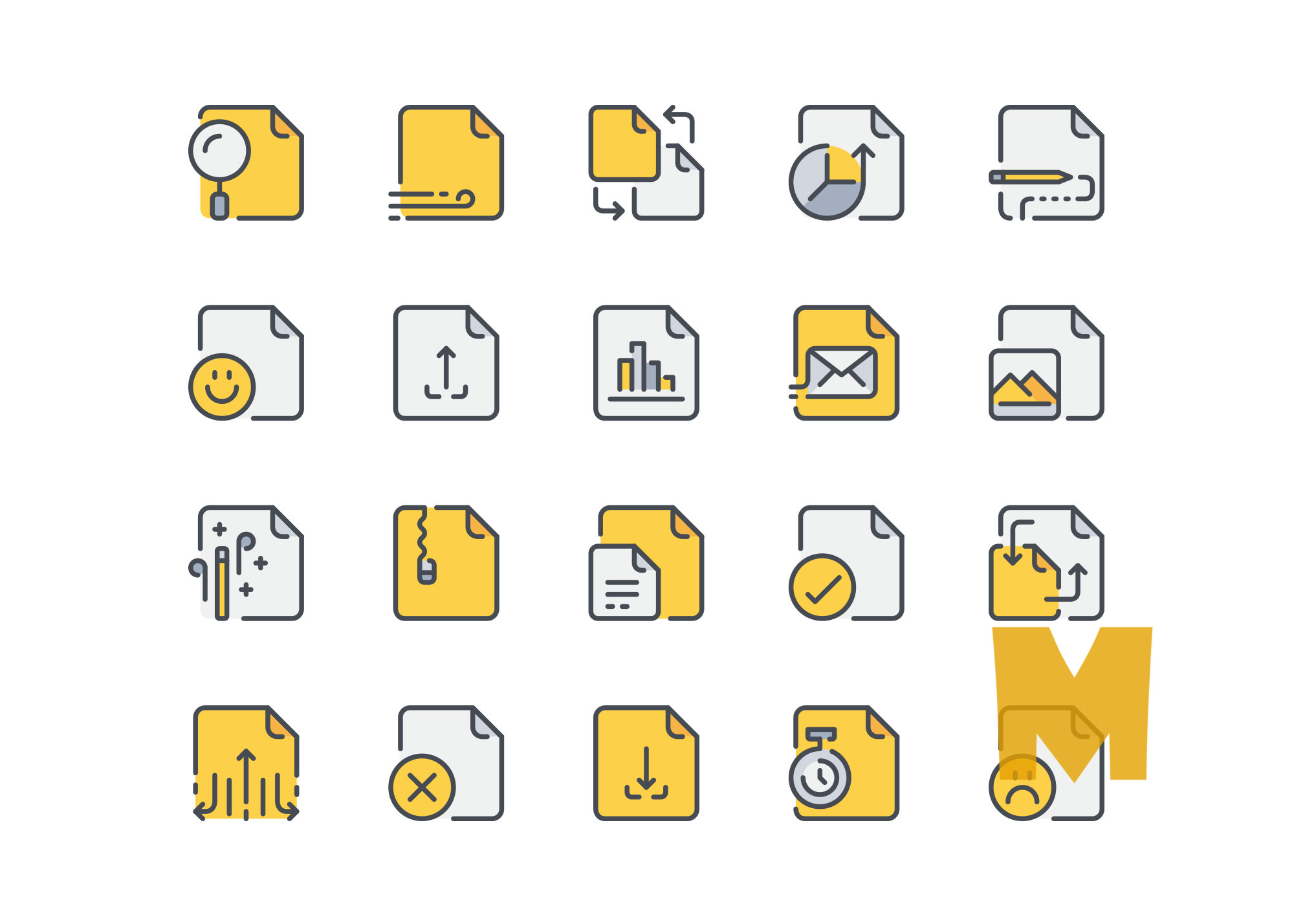 File and Document Icon Design Set