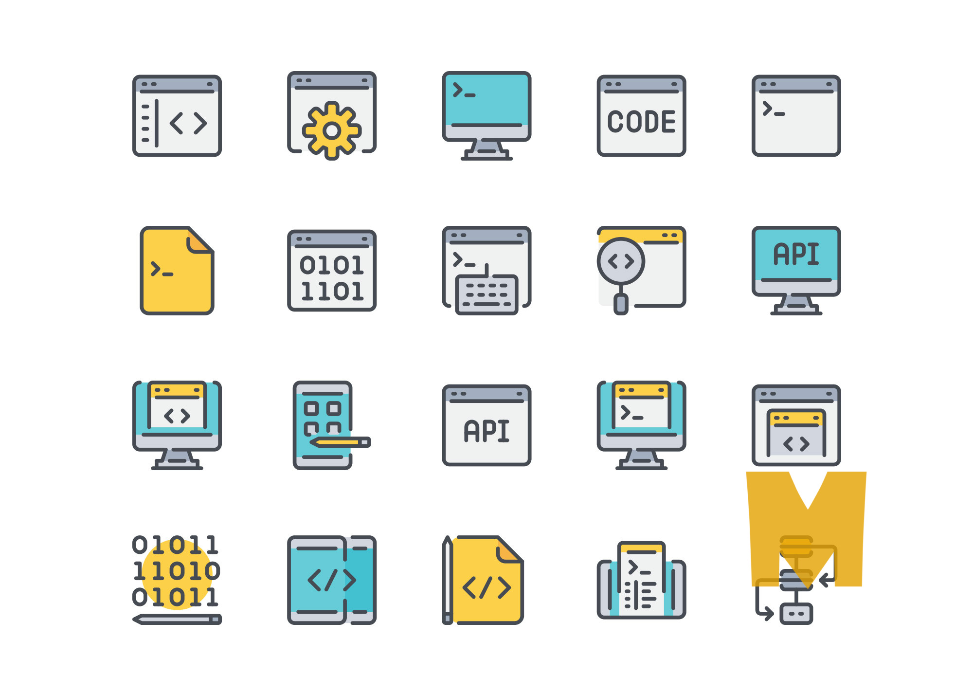 Programming and Coding Icon Design Set