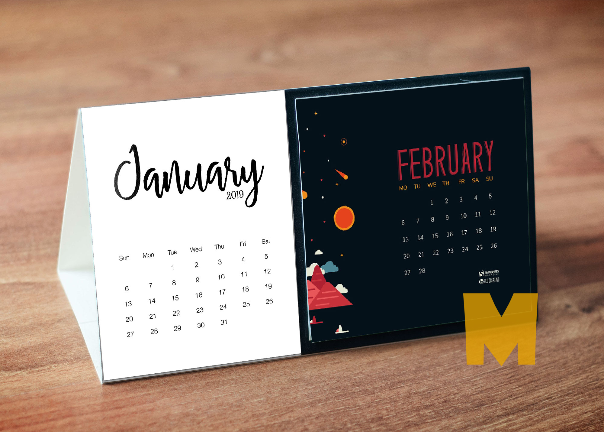 Table Calender Design Mockup