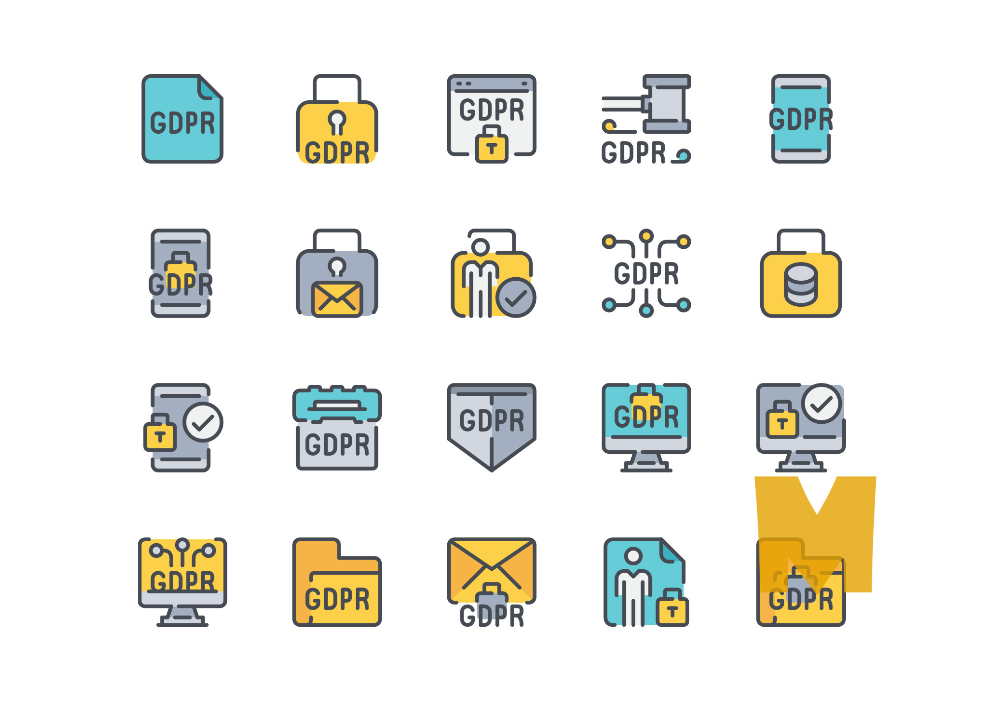 Vector GDPR Icon Design Set