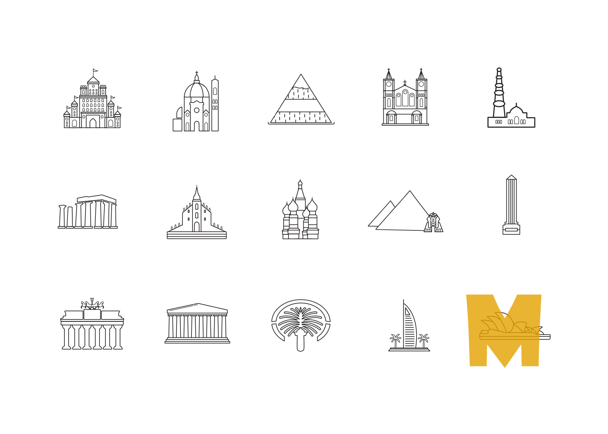 Washington Monument Icon Design Set