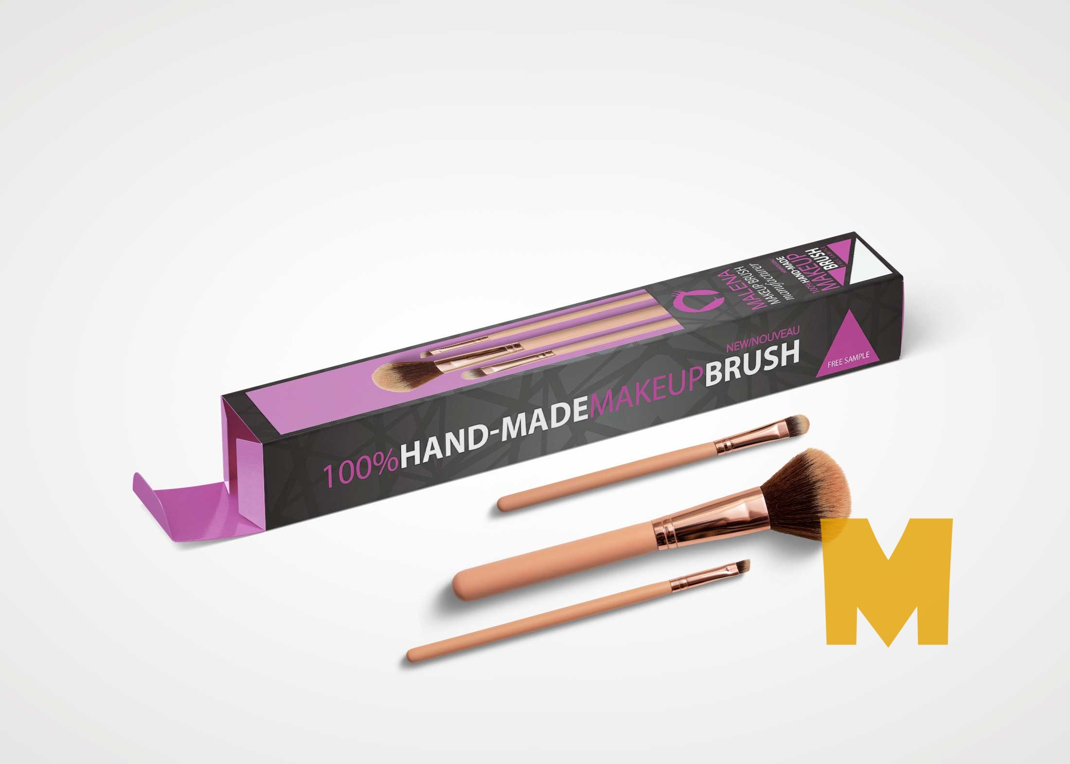 Beauty Brush Box Packaging Mockup