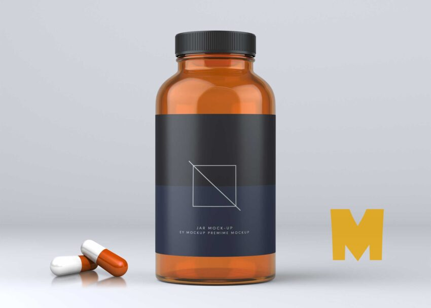 Pill Glass Jar PSD Mockup