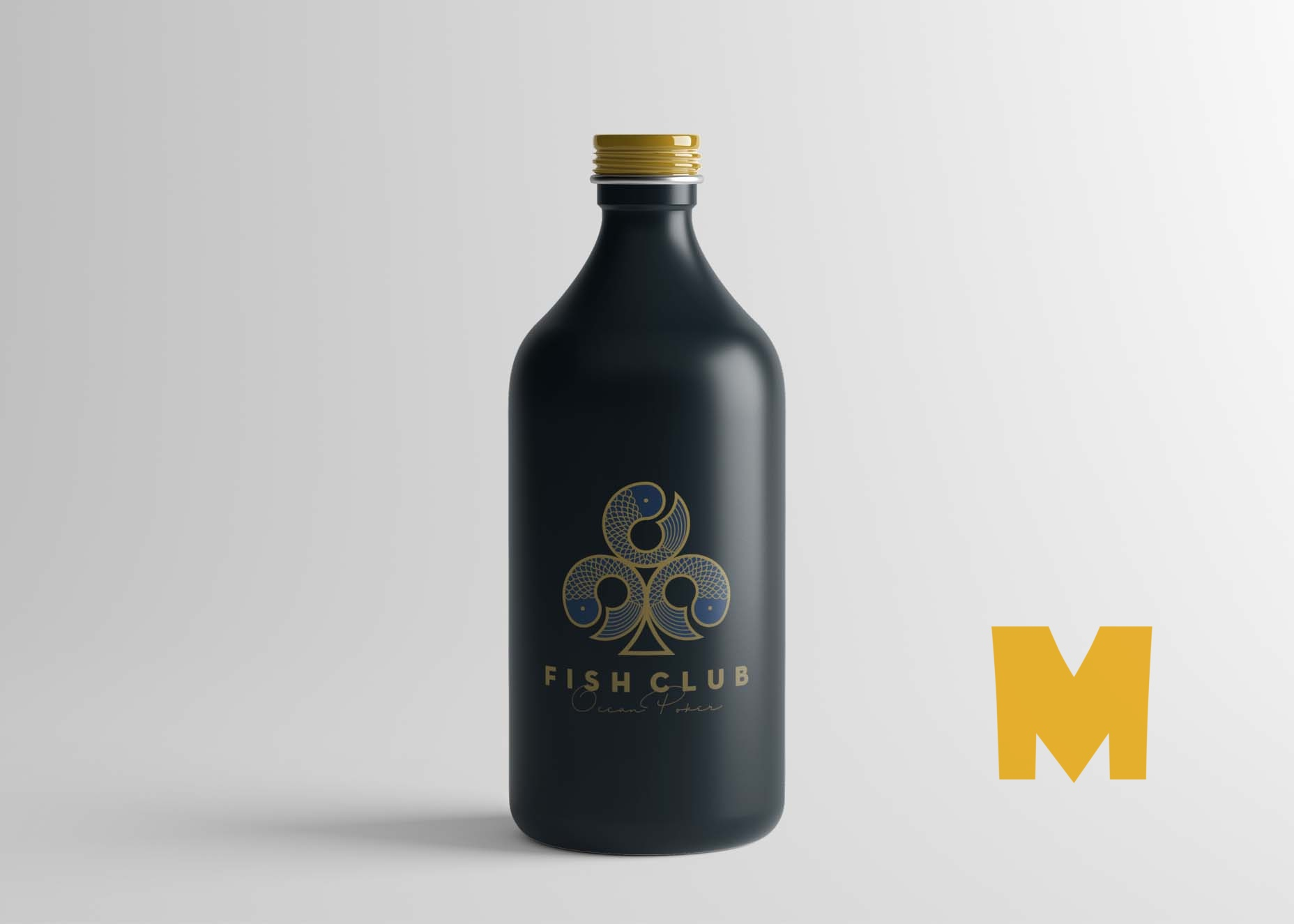 Black Glass Bottle Mockup