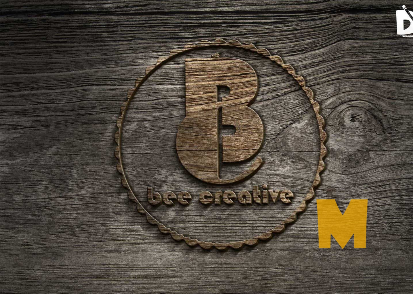 Old Wood Bevel Logo Mockup