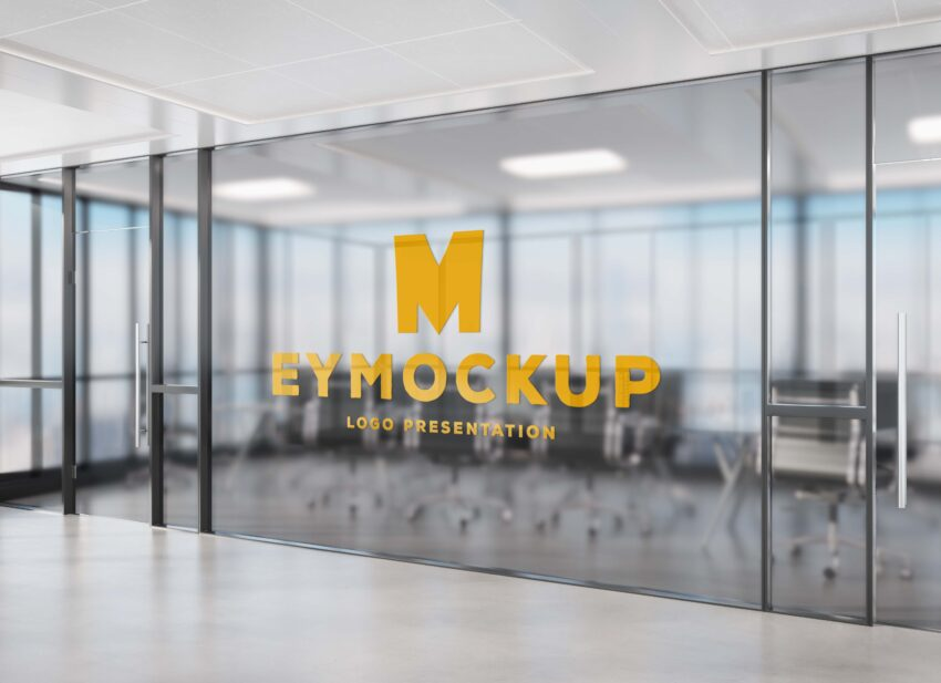 Transparent Office Wall Logo Mockup