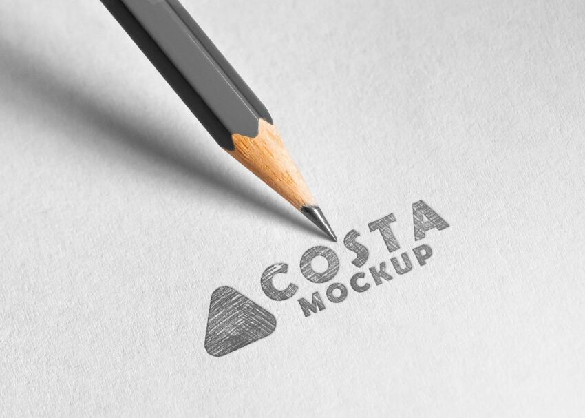 Sketch Pencil Logo Mockup 2020