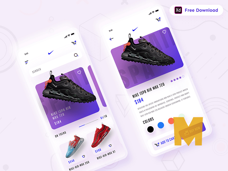 Shoes Store App XD Mockup