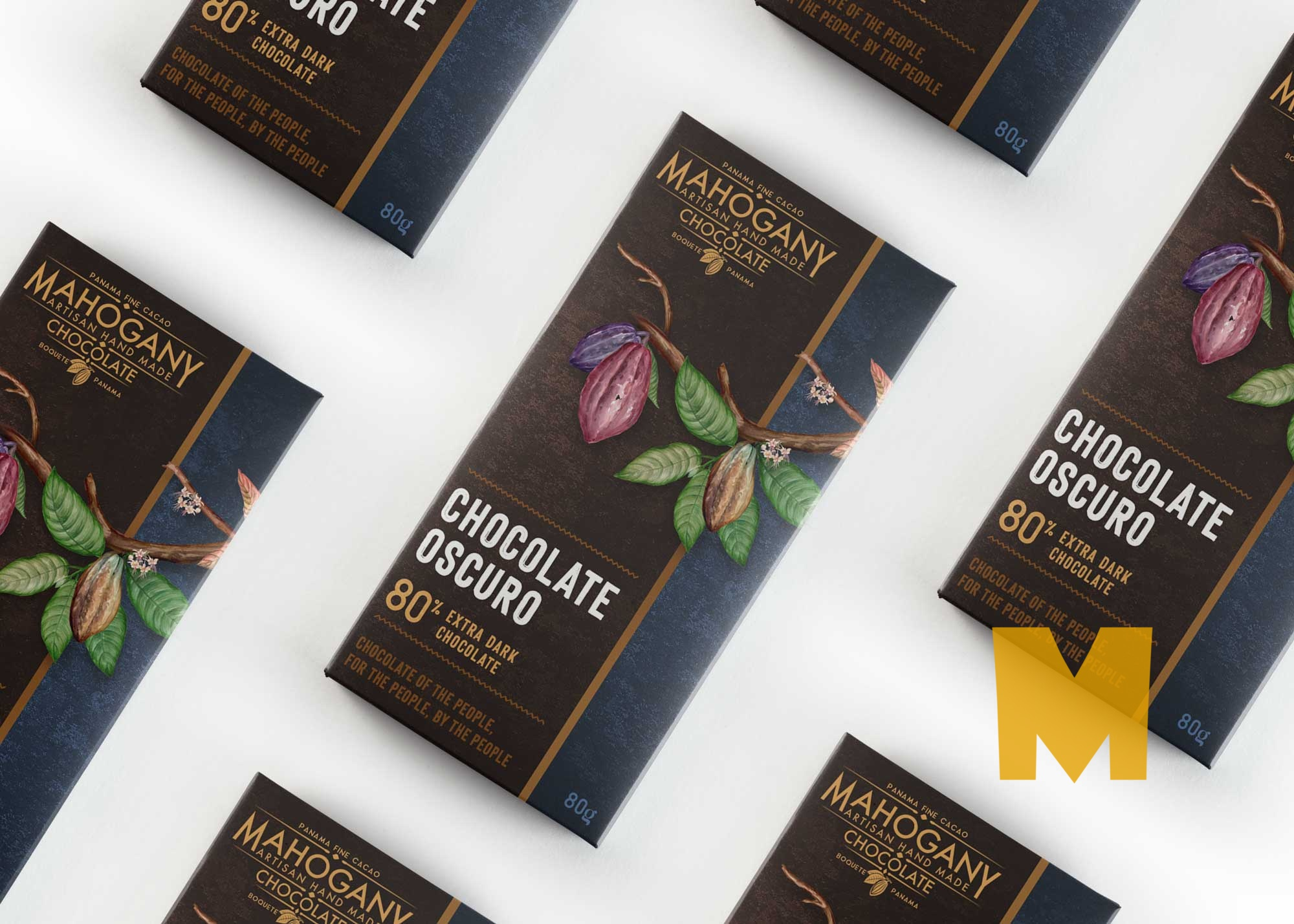 Dark Chocolate Packaging Scene Mockup