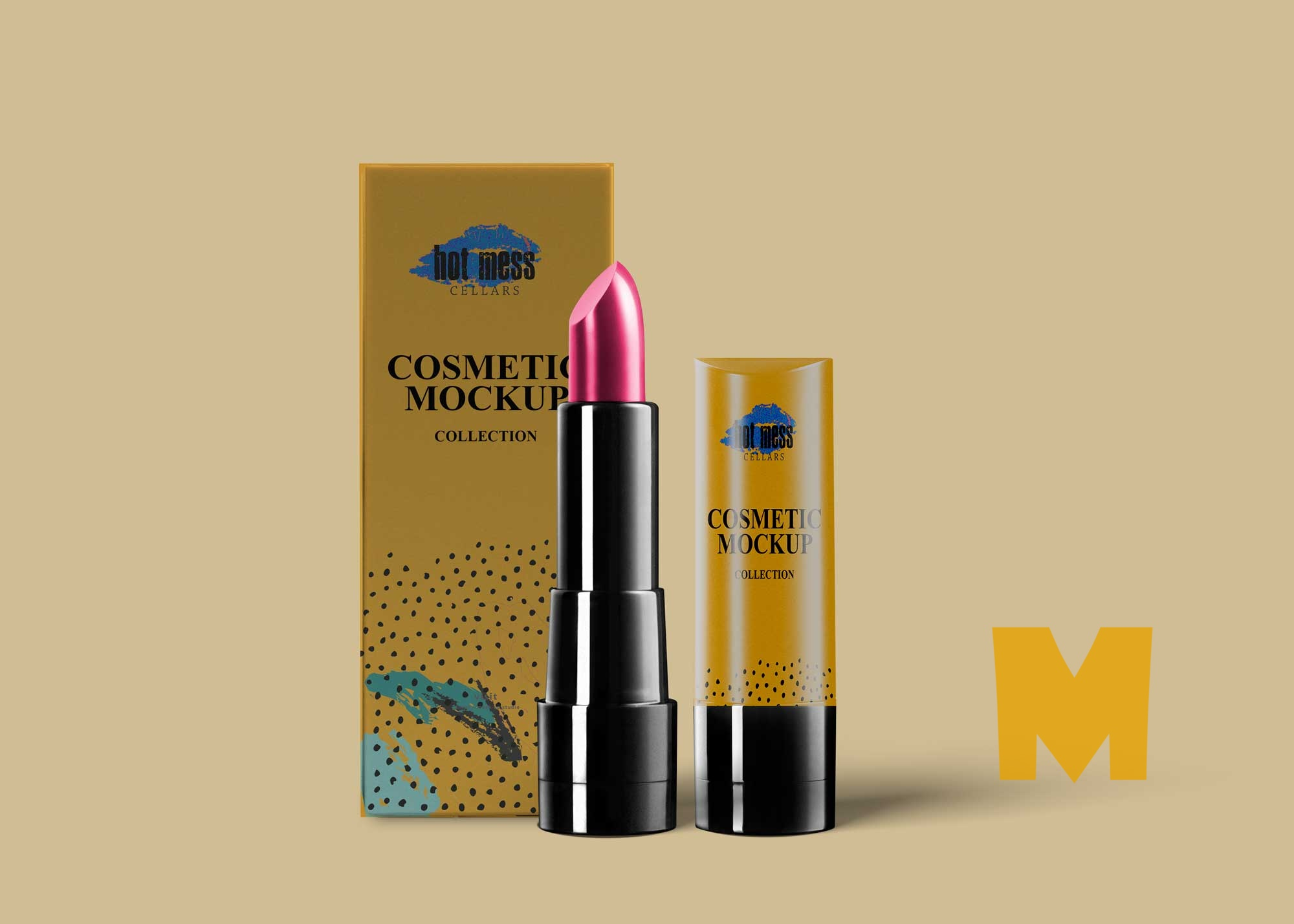 Glossy Lipstick Packaging Mockup