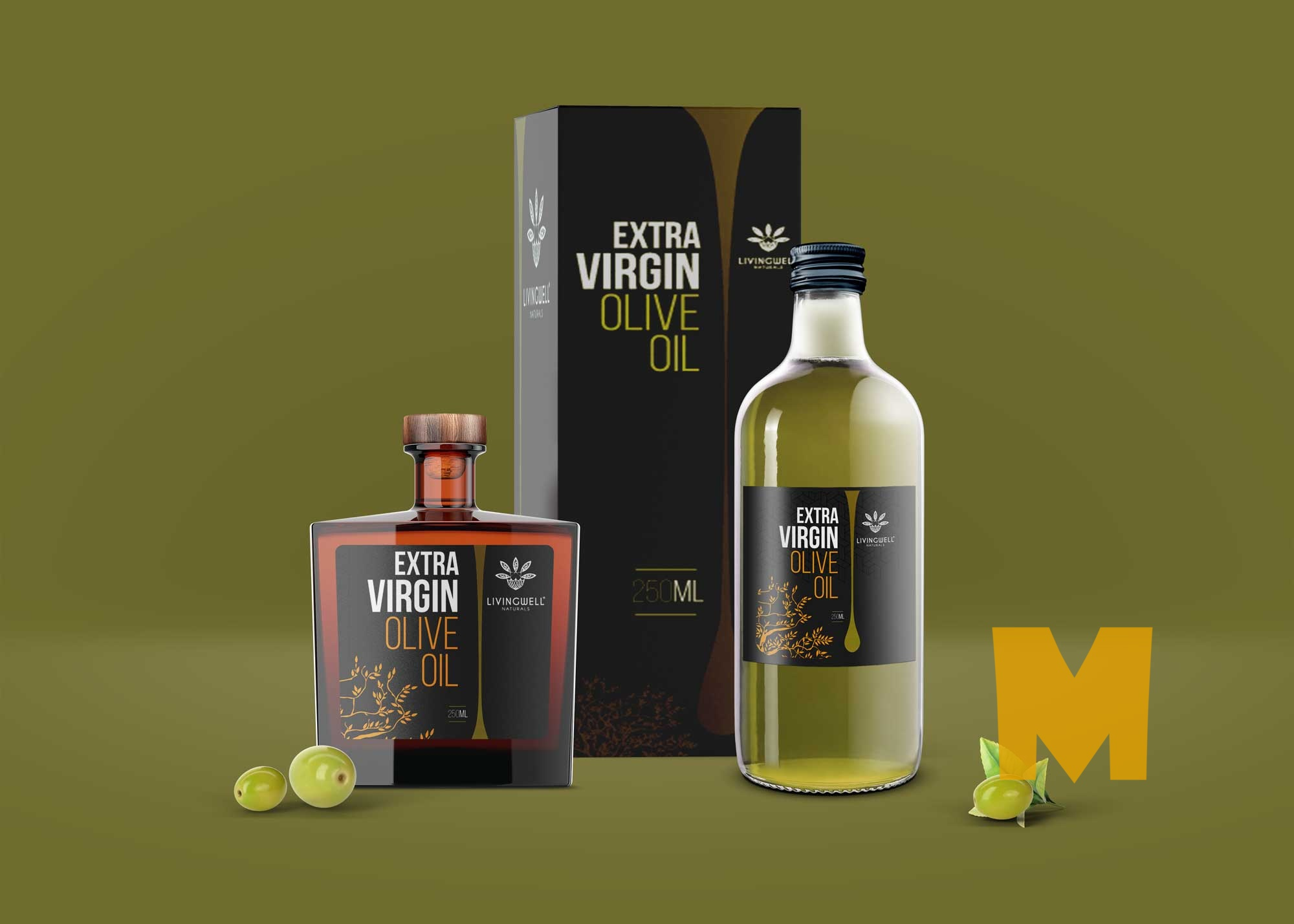 Glossy Olive Oil Bottle Mockup