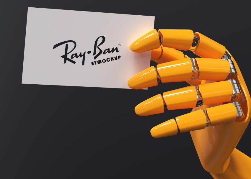 Free Robot Hand Holding Card Mockup