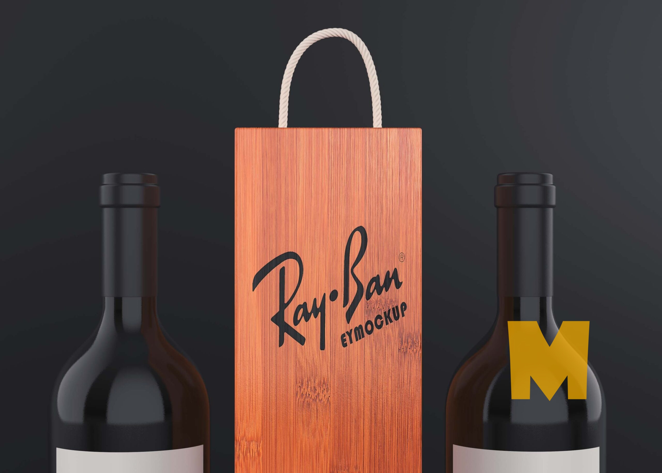Free Wine Kraft Bag Logo Mockup