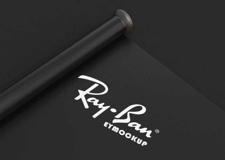 Free Black Paper Scroll Logo Mockup