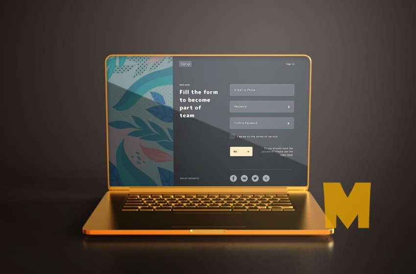 Free High Quality Golding Laptop Mockup