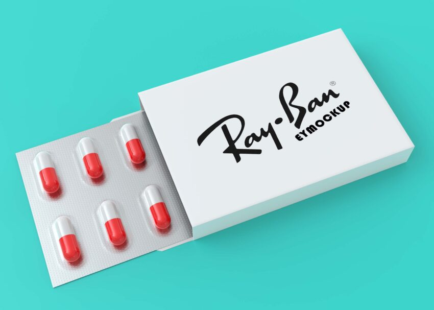 Free Medical Pills Box Logo Mockup