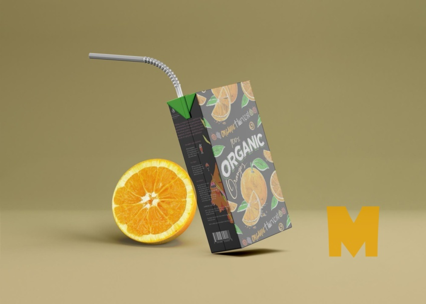 Free Orange Fruit Juice Box Packaging Mockup