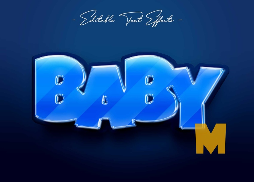 Free Baby Text Style Effect Mockup