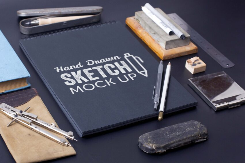 Free Black Sketch Drawing Front Mockup