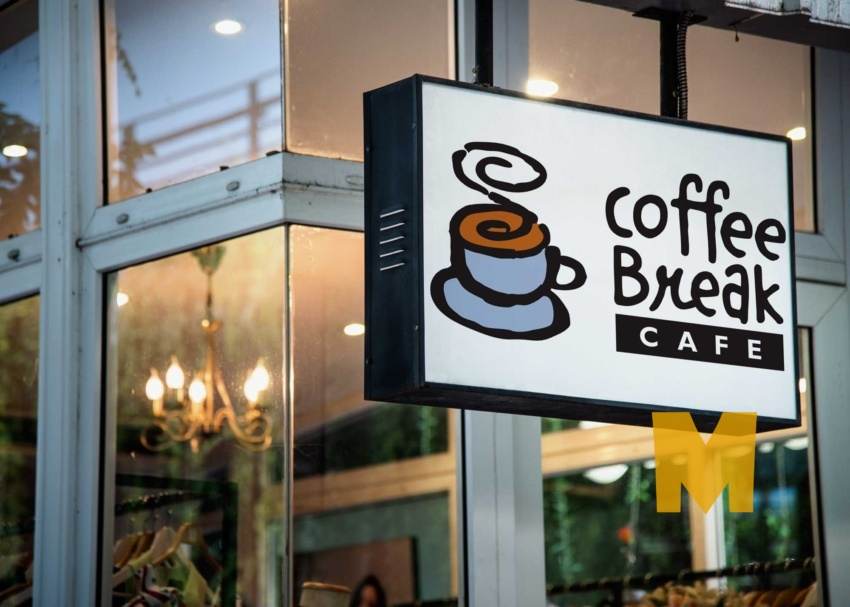 Free Cafe Sign Outside Shop Mockup