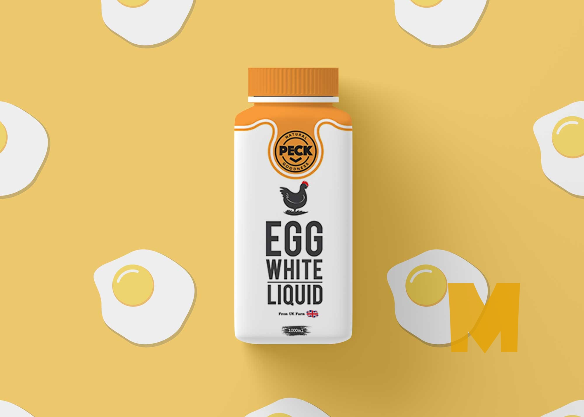 Free Egg Protein Bottle Psd Mockup