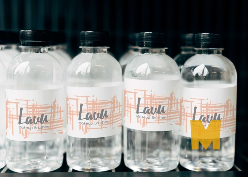 Free Mineral Water Bottles Collection Mockup