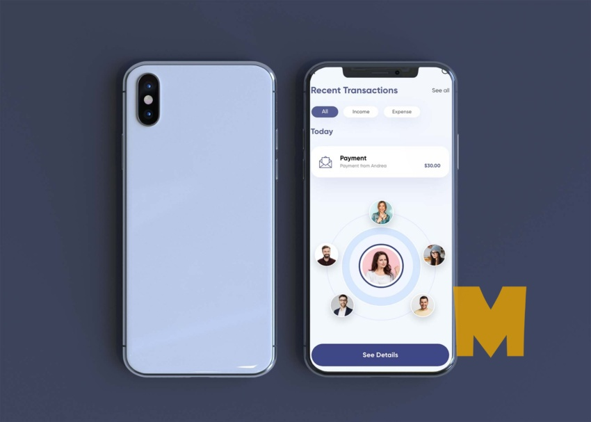 Free Modern Back Front Mobile View Mockup
