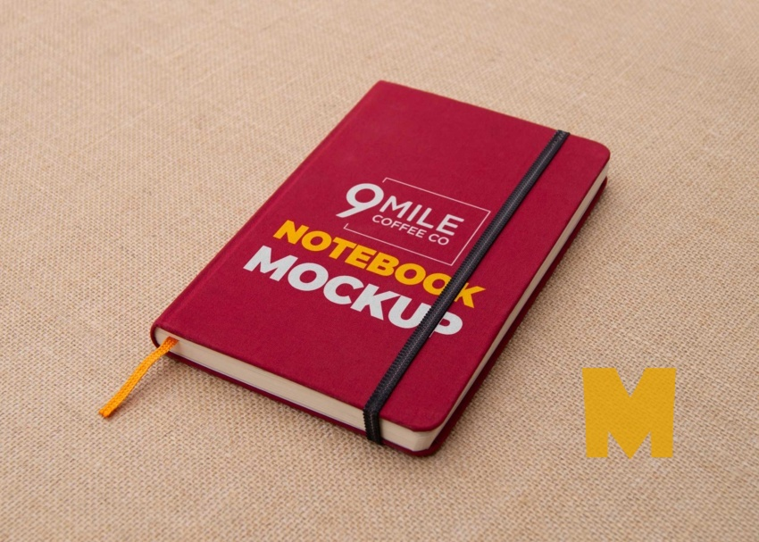 Free Red Notebook Mock-Up