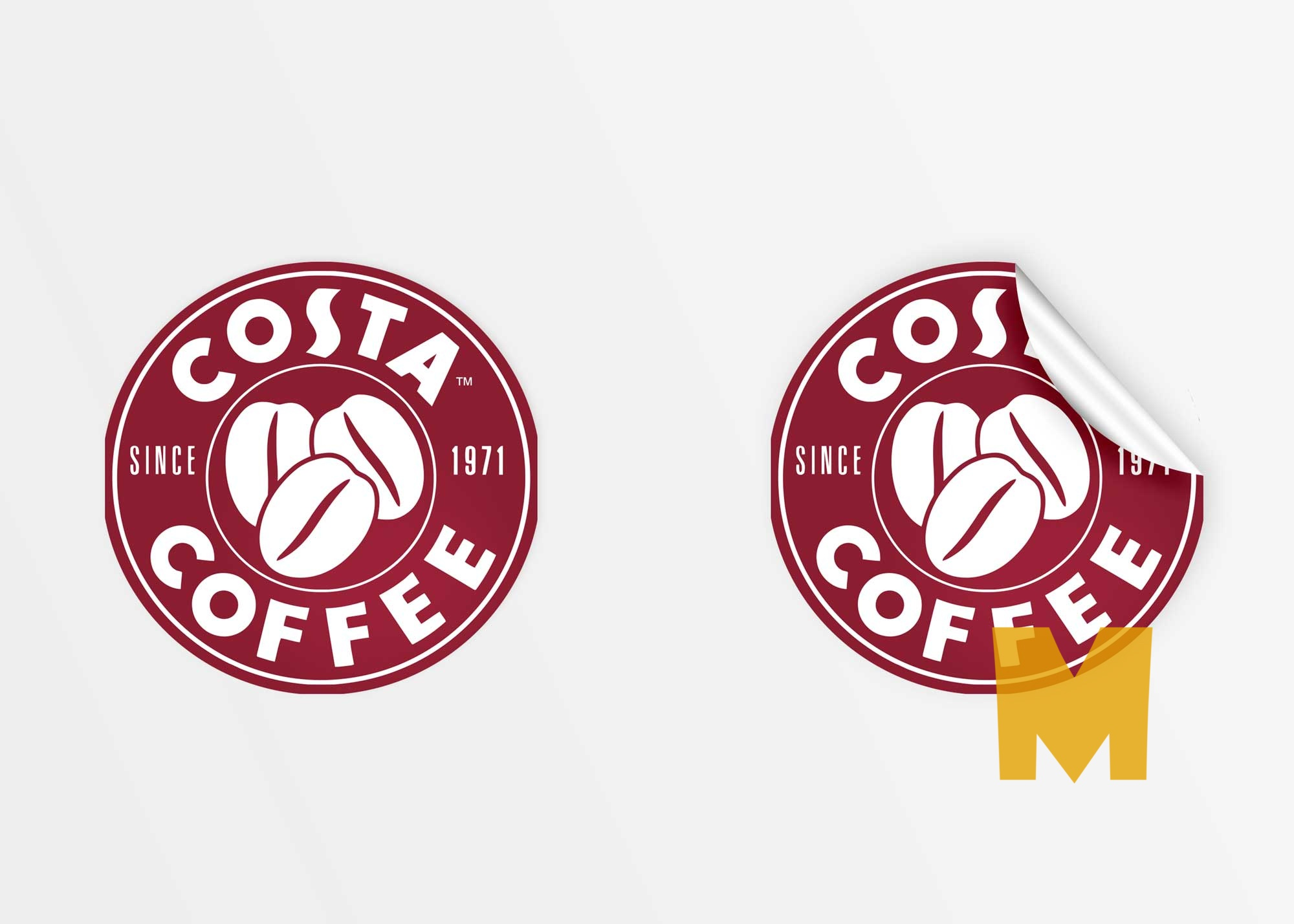 Free Rounded Coffee Stickers Mockup