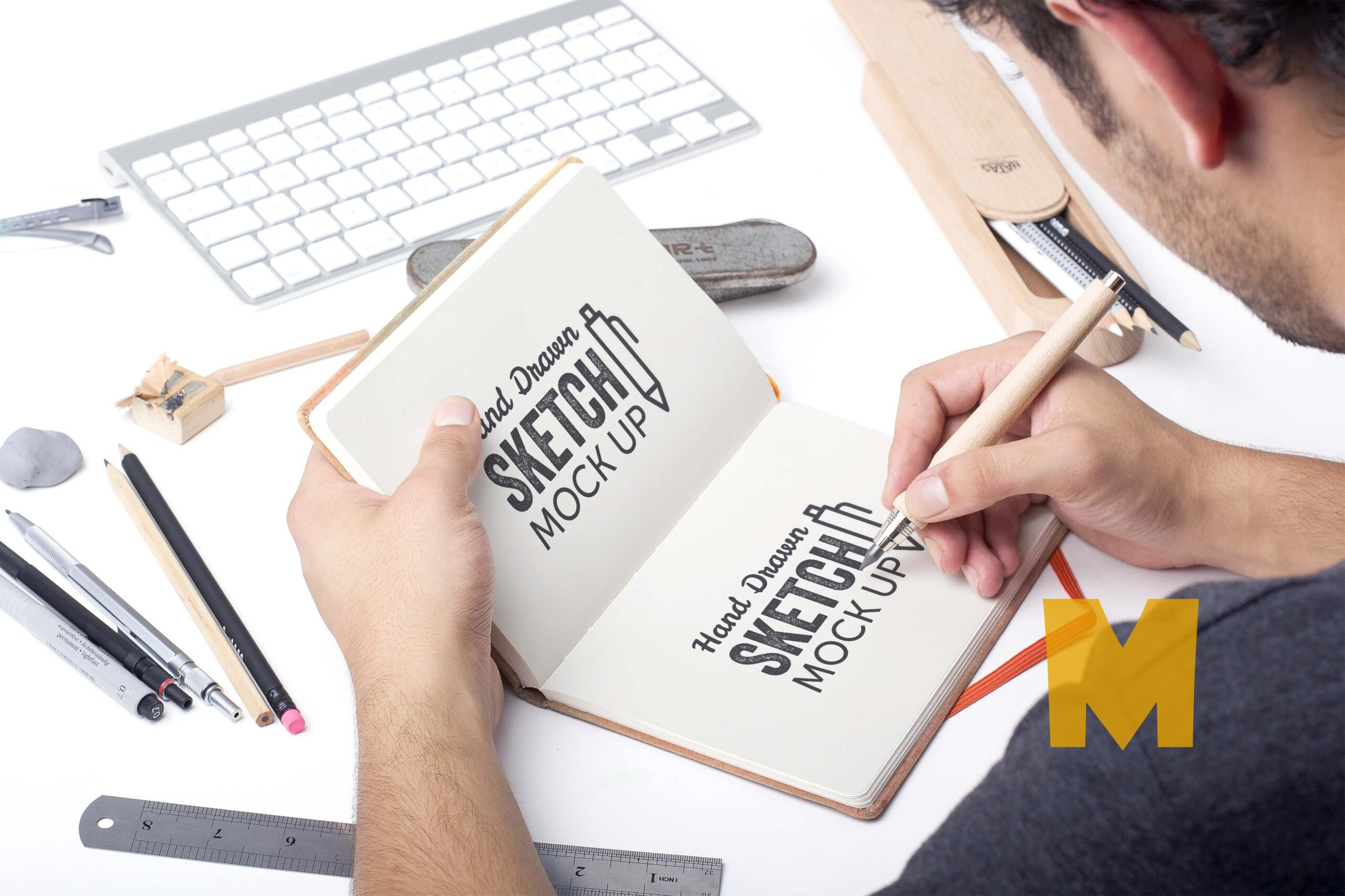 Free Sketch Book Drawing Mockup