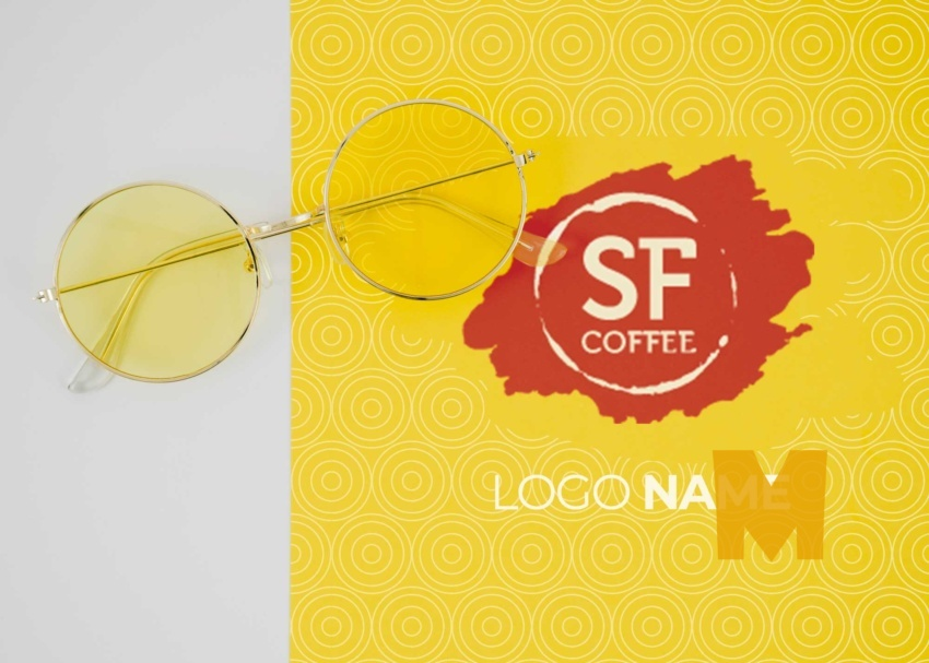 Free Summer Glasses Logo Mockup