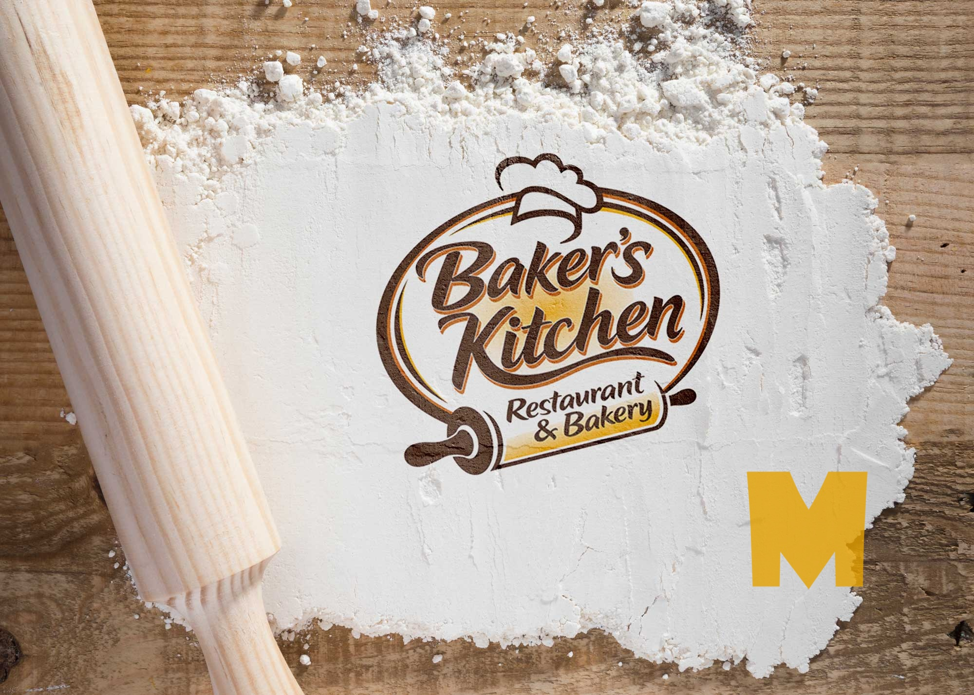 Free Top View Bakery Logo Mock-up