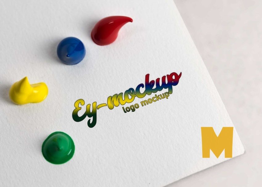 Free Water Color Artistic Logo Mock-up