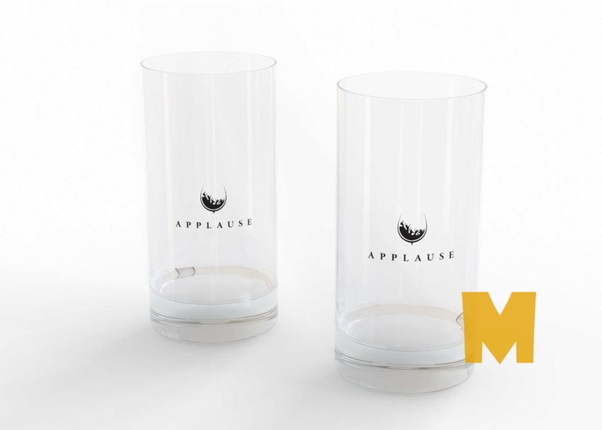 Free Water Glass Logo Mockup