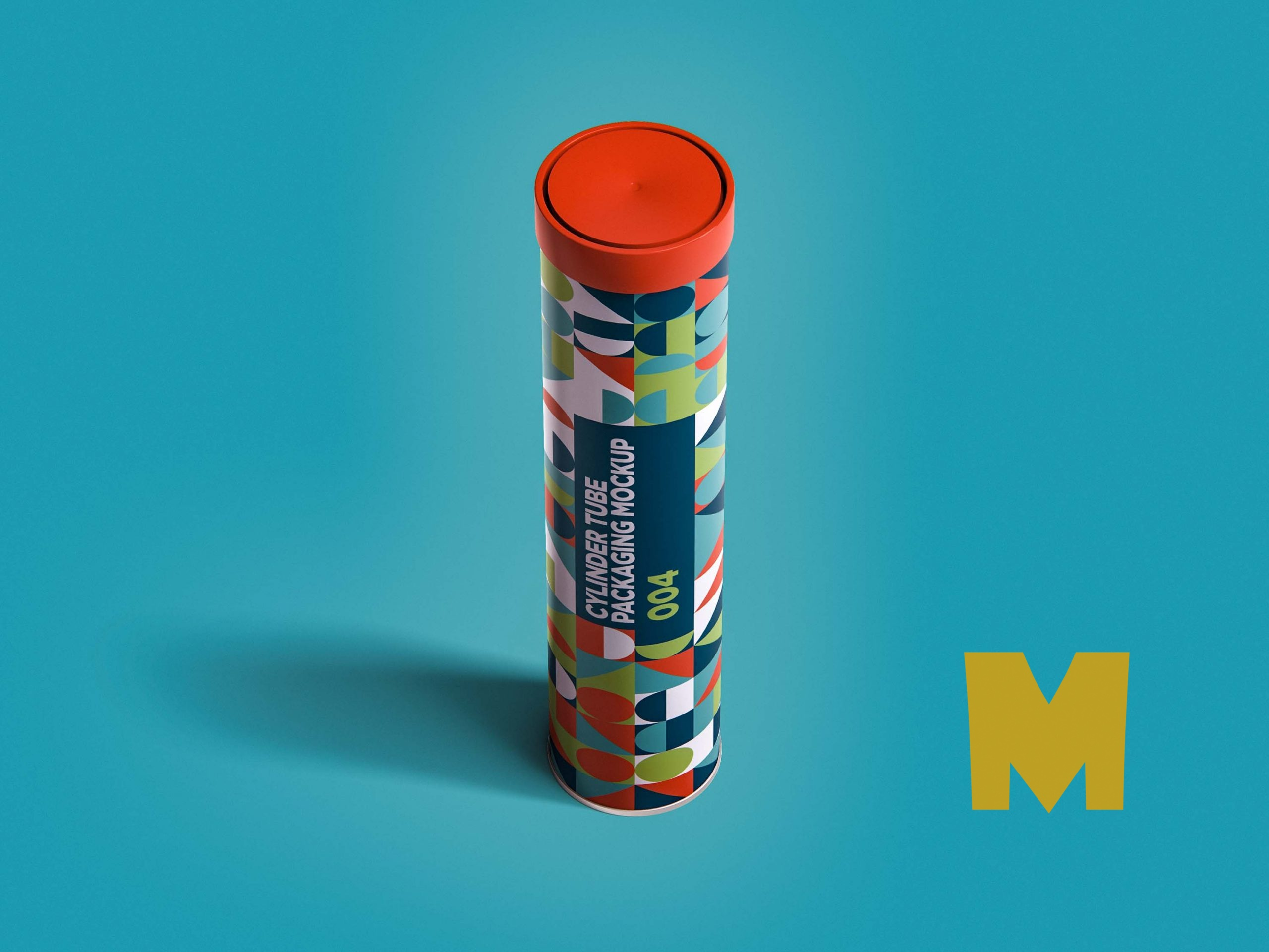 Multi-Color Cylindrical Tube Packaging Mockup